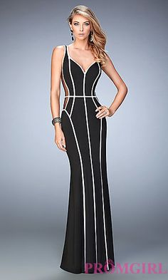Long Black and White Sheer Sides Prom Dress by La Femme at PromGirl.com