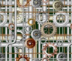 steampunk pipes and gears fabric by glimmericks on Spoonflower - custom fabric