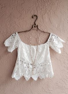 Image of Anthropologie Do & BE crochet bohemian Crop top off shoulder beach girl