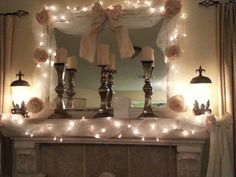 Romantic country fireplace decoration
