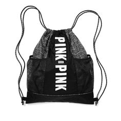 """PINK mesh drawstring backpack PINK mesh pocket drawstring backpack  *black marl * New -no tag/ was purchased online in bag  Drawstring closure Two exterior mesh pockets; fits Campus Water Bottle Double shoulder straps. 18''H x  14 1/2""""W Imported polyester PINK Victoria's Secret Bags Backpacks"""