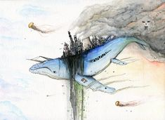 """Air Pollution"" - Watercolor and ink on paper - by dylanspider Air Pollution Poster, Ocean Pollution, Ocean Drawing, Whale Painting, Gcse Art Sketchbook, Posca Art, Plastic Art, Ocean Art, Environmental Art"