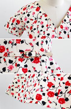 details on a vintage 1950s rose print dress | we have two of these! | perfect for bridesmaid dresses.