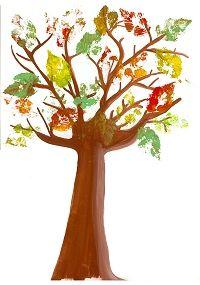 Mon arbre d'automne, bricolage avec des feuilles