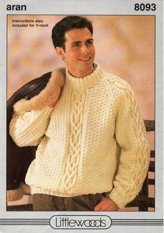 mens aran sweater knitting pattern pdf mens cable jumper crew or v neck Vintage 28-44 inch aran worsted 10ply Instant downlad by Hobohooks on Etsy