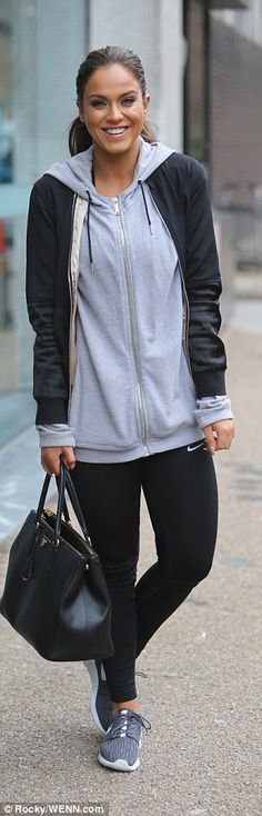 Vicky Pattison cuts a casual figure in a grey hoody and black sports leggings as she steps out from ITV studios | Daily Mail Online