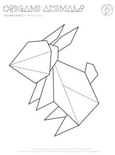 Origami rabbit coloring page