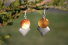 Brown Flat Shell and Diamond Earrings