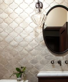 Silver arabesque tile backsplash