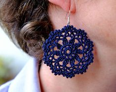 Crochet earrings pattern, flower earrings tutorial,circle lace earrings instructions, romantic cotton earrings tools, textile jewelry bijoux Best Picture For Crochet carpetas For Your Taste You. Crochet Earrings Pattern, Crochet Jewelry Patterns, Crochet Flower Patterns, Crochet Accessories, Crochet Flowers, Crochet Lace, Pattern Flower, Cotton Crochet, Crochet Edgings