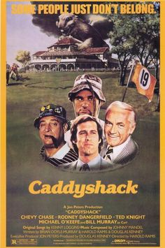 A great Caddyshack movie poster! The classic comedy stars legendary comedians Bill Murray, Chevy Chase, and Rodney Dangerfield. Need Poster Mounts. Film Movie, 80s Movies, Great Movies, Movies To Watch, Comedy Film, 80s Movie Posters, Movie Cast, Oscar Movies, Comedy Actors