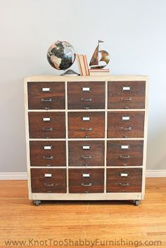 DIY Inspiration   Paint filing cabinet colour of choice then cover the drawers with wood grain contact paper and add pulls and labels