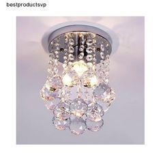 Flush Mount Ceiling Light Fixture Modern Chandelier Mini Crystal Interior Chrome #Unbranded #Modern