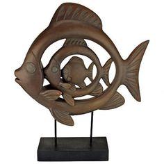 Concentric Tropical Ocean Fish Modern Art Statue - 4
