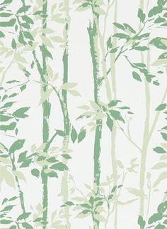 Vintagetapete Bamboo Forest von Sanderson - Green/ Ivory