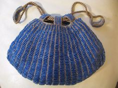 Antiques Antique Tan Crochet Knit Cobalt Blue Bead Satin Lining Drawstring Purse Clothing, Shoes & Accessories
