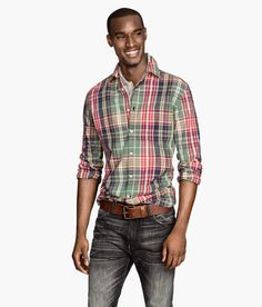 Cotton button-down shirt with collar & multicolored red, green, and blue plaid. | H&M For Men