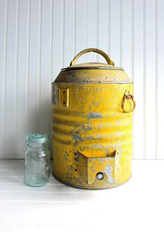 Vintage Yellow Water Cooler Rustic Metal Farmhouse Style, Galvanized Steel Functional Beverage Jug - I love battered yellow paint on metal! Vintage Yellow, Vintage Love, Vintage Cooler, Water Coolers, Yellow Submarine, Galvanized Steel, Vintage Tins, Shades Of Yellow, Happy Colors