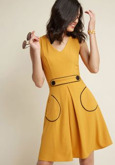 Vintage Retro Style Dresses - Retro A-Line Dress in Marigold Yellow - Shop new style dresses for sale. Mid century fashion dresses inspired by Mad Men, Mod style, retro designs and simple shapes. 1960s Style Dress, Vintage Dresses 1960s, Retro Dress, Vintage Outfits, Mod Dress, Vintage Inspired Fashion, 1960s Fashion, Sporty Fashion, Ski Fashion