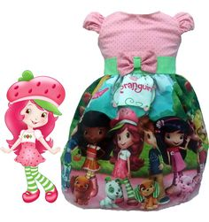 vestido festa infantil moranguinho