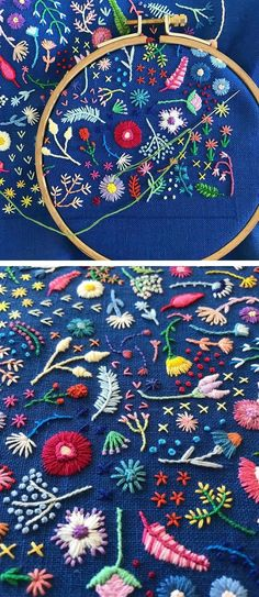 Brannon Addison of Happy Cactus Design creates tiny embroidery in which small blooms burst into spontaneous arrangements.