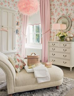 Find sophisticated detail in every Laura Ashley collection - home furnishings, children's room decor, and women, girls & men's fashion. Shabby Chic Interiors, Shabby Chic Bedrooms, Attic Bedrooms, Girls Bedroom, Bedroom Dressers, Laura Ashley Bedroom, Laura Ashley Home, Pastel Home Decor, Interior Exterior