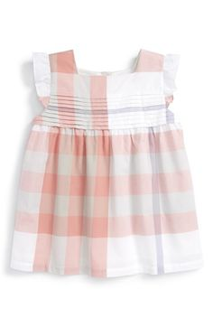 Burberry 'Isadora' Check Print Ruffle Sleeve Top (Little Girls & Big Girls)