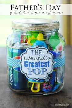 Worlds_Greatest_Pop_Fathers_Day_Gift_In_A_Jar #giftsinajar Jar Gifts Gifts in a Jar