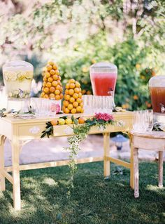 Remember how my sister's wedding was published in the spring/summer issue of Martha Stewart Weddings magazine? Well today we are thrilled that a lot more of its gorgeous, vibrant, citrus-hued det. Sumo Natural, Event Planning, Wedding Planning, Watermelon Lemonade, Watermelon Wedding, Lemonade Bar, Lavender Lemonade, Festa Party, Antipasto