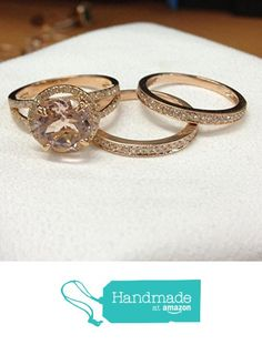 Round Morganite Engagement 3 Ring Bridal Set Pave Diamond Wedding 14K Rose Gold 8mm from the Lord of Gem Rings https://www.amazon.com/dp/B01H2ET7MS/ref=hnd_sw_r_pi_dp_hUlyxbBK25MN1 #handmadeatamazon