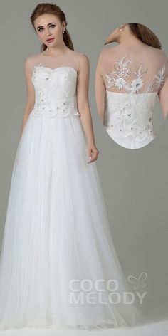 $129. Simple tulle floor length #weddingdress with embroidery on the back. #cocomelody
