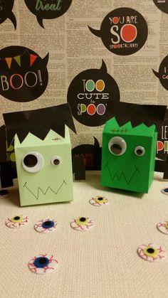 Frankenstein milk carton Halloween treat holders.