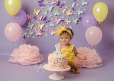 Cake Smashing On Seamless Paper: Perfect For Adorable Poses 1st Birthday Decorations, Girl Birthday Themes, Baby Girl First Birthday, Baby Cake Smash, 1st Birthday Cake Smash, Cake Smash Pictures, Birthday Girl Pictures, 1st Birthday Photoshoot, Butterfly Birthday Party