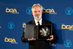 """Sam Mendes - winner of the Best Director of a Feature Film Award for his work on """"1917"""" - poses backstage at the 72nd Directors Guild of America Awards - January 25, 2020. Best Director, Film Director, Breaking Bad Movie, Vince Gilligan, Spike Jonze, Sam Mendes, The Shape Of Water, Entertainment"""
