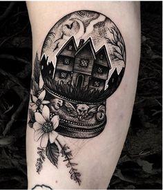 Dream Tattoos, Body Art Tattoos, Small Tattoos, Floral Skull Tattoos, Life Tattoos, Tatto Harry Potter, Haunted House Tattoo, Goth Tattoo, Ouija Tattoo