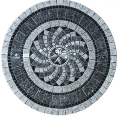 Gray North Star Mosaic Tile Table Top