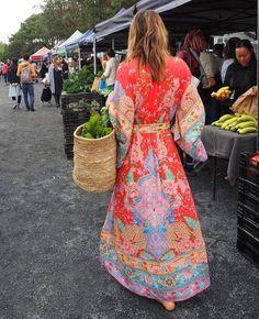Floral Tea Dress, Boho Dress, Bohemian Dresses, Vintage Style Dresses, Casual Dresses, Summer Dresses, Boho Fashion, Vintage Fashion, Mode Kimono