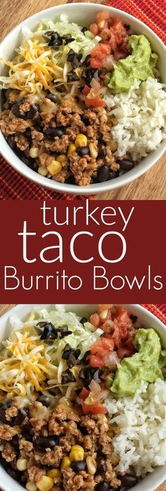 Turkey taco meat with beans and corn simmers on the stove top. Make a burrito bowl with rice and taco toppings!