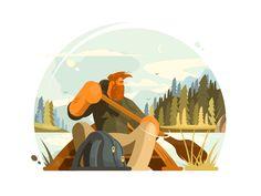 Man in canoe by Anton Fritsler (kit8) #Design Popular #Dribbble #shots