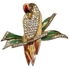 Coro Craft Sterling Enamel Rhinestone Bird Fur Clip Pin 1940's, Luminous Bijoux Exclusively on Ruby Lane