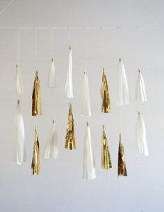 Gold & White Wedding Decorations - Metallic Gold and White Tassel Garlands by Pretty with Sprinkles
