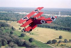 Fokker Dr.I triplane, known to be the fighter used by German WW I ace Manfred von Richthofen, a.k.a. the Red Baron or Le Diable Rouge, who achieved 80 confirmed victories.