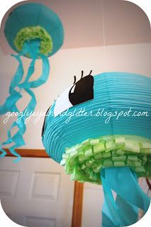 Paper Jellyfish Decorations - Under the Sea Mermaid DIY Party googlyeyesandglitter.blogspot.com