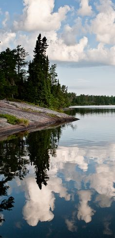 Reflecting by Carla Dyck - Red Rock Lake in Whiteshell Provincial Park, Manitoba