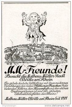 Original-Werbung/ Anzeige 1928 - MM- FREUNDE- BESUCHT ELTVILLE / MATHEUS MÜLLER SEKTKELLEREI -  ca. 70 x 110 mm