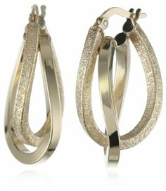 Duragold 14k Yellow Gold Textured and Polished Oval Hoop Earrings Amazon Curated Collection. $200.00. Made in Italy