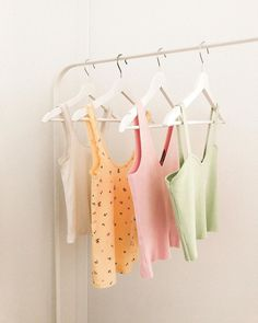 A rail of ribbed sunshine 💛💗💚 Pastels, Clothes Hanger, Rum, Sunshine, Spring, Coat Hanger, Clothes Hangers, Nikko, Rome