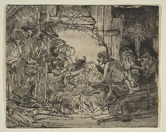 The Adoration of the Shepherds: with the Lamp Rembrandt (Rembrandt van Rijn) (Dutch, Leiden Amsterdam) Medium: Etching and drypoint Classification: Prints Credit Line: Gift of Felix M. Warburg and his family, 1941 Accession Number: Rembrandt Etchings, Rembrandt Drawings, Leiden, Dutch Painters, National Gallery Of Art, The Shepherd, Jesus Cristo, Native Art, Art Google