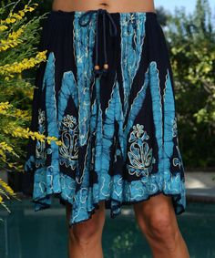 Look at this Ananda's Collection Navy & Blue Embroidered Handkerchief Skirt - Women on #zulily today!