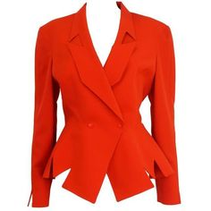 Preowned 1990's Thierry Mugler Red M Cut-out Jacket (935 BGN) ❤ liked on Polyvore featuring outerwear, jackets, red, red jacket, lapel jacket, vintage jacket and thierry mugler